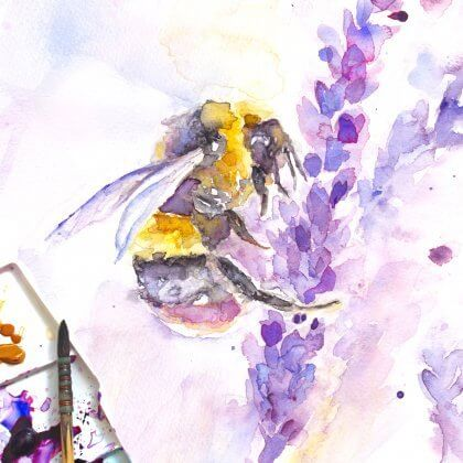 Single Bee on Lavender (original art)